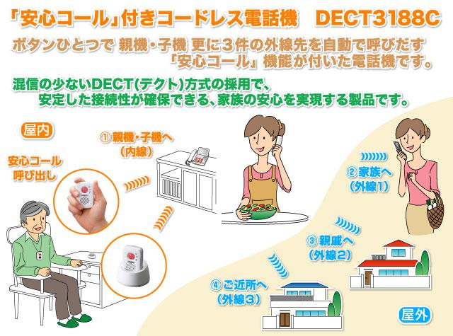 「安心コール」付きコードレス電話機 DECT3188C
